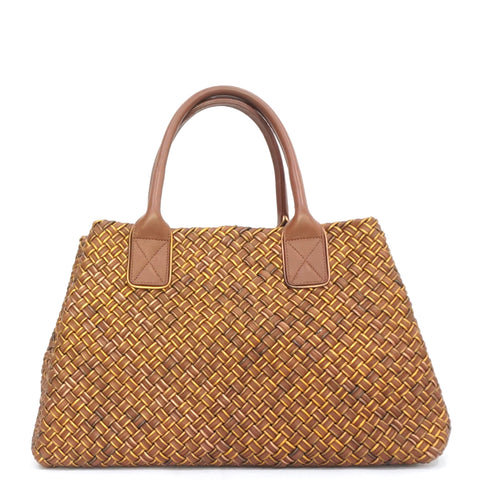 Bottega Veneta Brown and Gold Medium Intrecciato Hippo Tote Bag