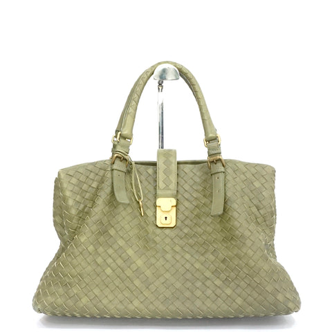 Bottega Veneta Green Medium Roma Intrecciato Tote Bag