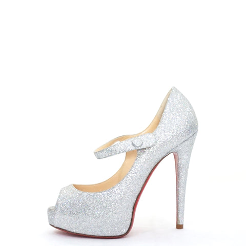 Christian Louboutin Silver Glittered Peeptoe Mary Jane Shoes 36