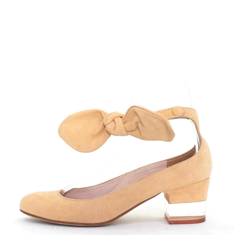 Carven Nude Suede Pumps with Angkle Bow 36