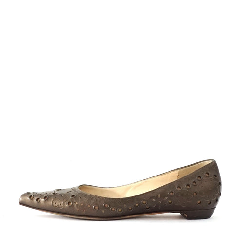 Jimmy Choo Bronze Flat Pointy Shoes 36