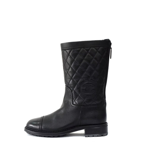 Chanel Black Leather Boots 37