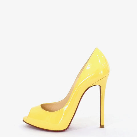 Christian Louboutin Yellow Patent Peeptoe Pumps 35