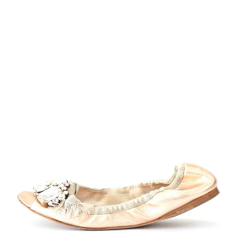 Miu Miu Rose Metallic Flats 36.5