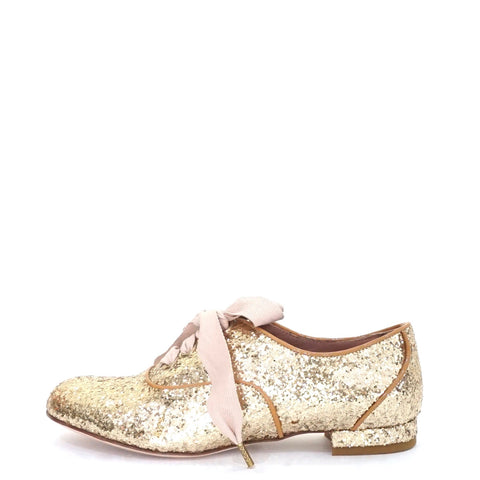 Red Valentino Gold Glittered Oxford Shoes 35