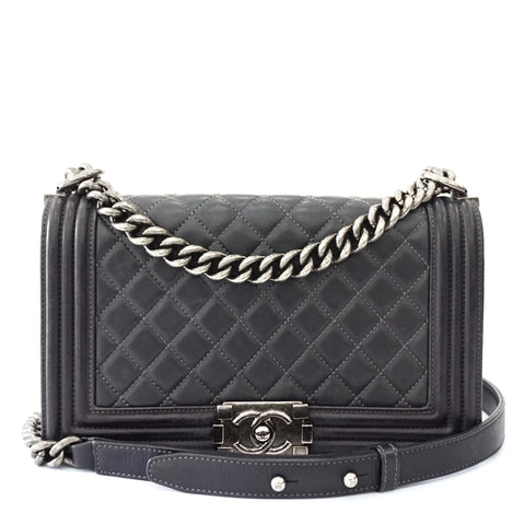 Chanel Black Lambskin Quilted Boy Medium Bag Dark Silver Hardware