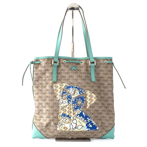 Anya Brown and Torquise Tote Bag with Logos Print