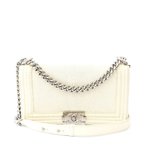 Chanel Off White Stingray Quilted Boy Medium Bag Silver Hardware