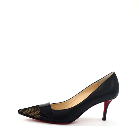 Christian Louboutin Pointy Black Kitten Heels 7cm. 38,5