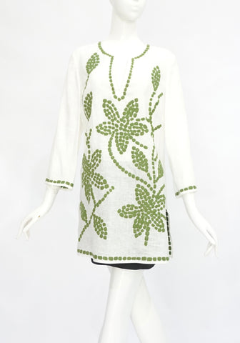Tory Burch White Linen Tunic with Green Embroidery M
