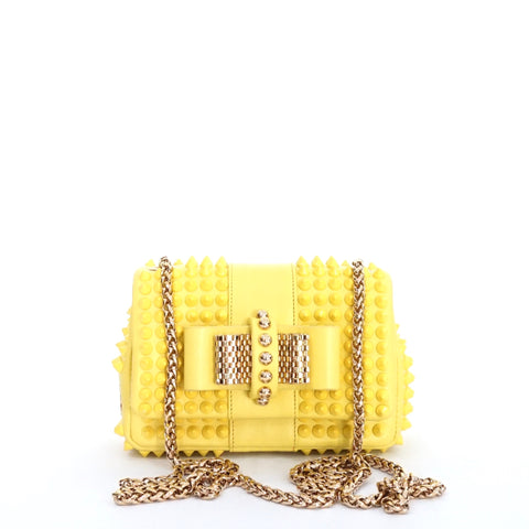 Christian Louboutin Yellow Studded Nano Bag GHW