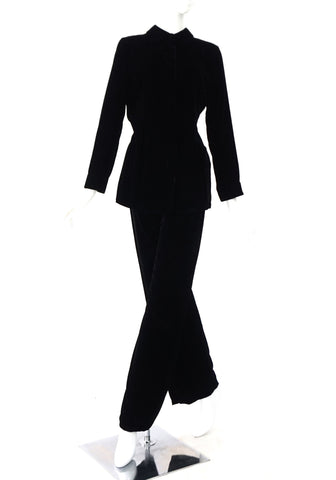 Giorgio Armani Black Velvet Top Pants Set Size 42
