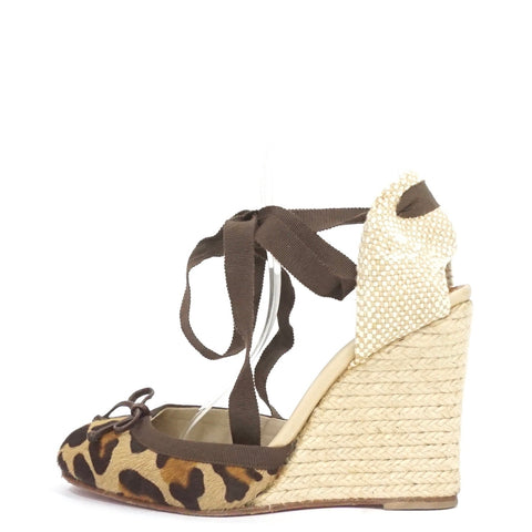 Christian Louboutin Leopard Print Pony Hair Carino Plato Espadrille Wedges 38