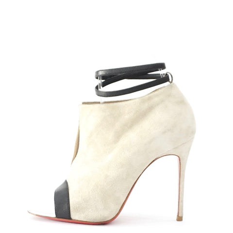 Christian Louboutin Light Grey Suede Open Toe Ankle Boots 35.5