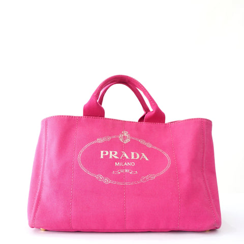 Prada Shopping Pink Canapa Bag