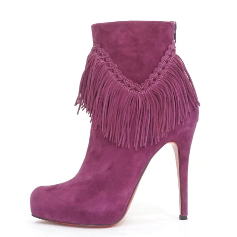 Christian Louboutin Purple Suede Rom Booties 38