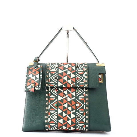 Valentino Olive Red Tribal Primitive My Rockstud Top Handle Bag