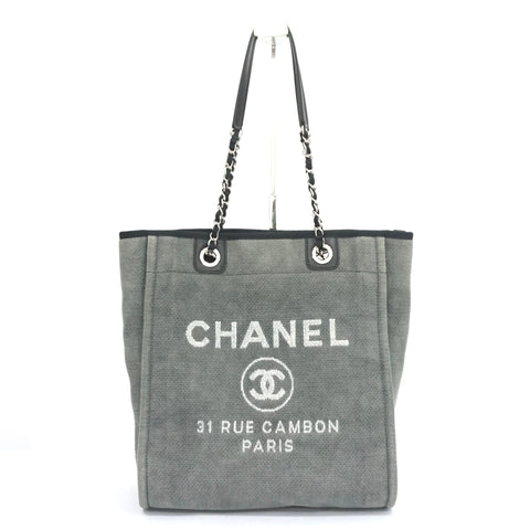 Chanel Gray Deauville Chain Tote Bag