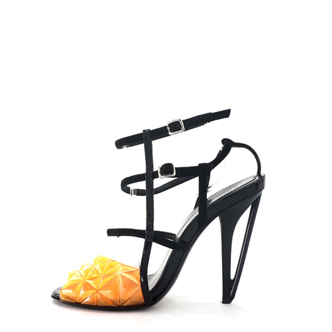 Fendi Orange Black Sandals 37