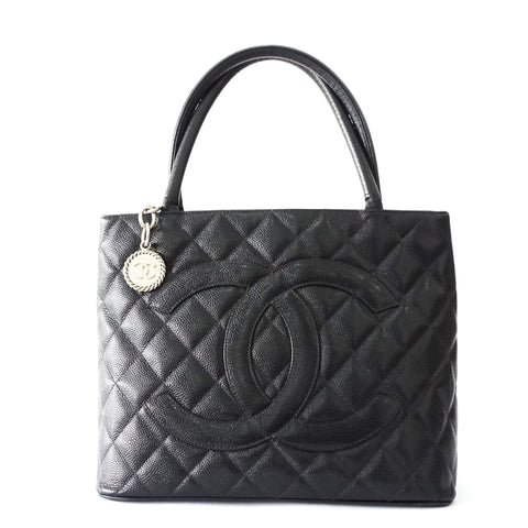 Chanel Black Caviar Medallion Tote Bag
