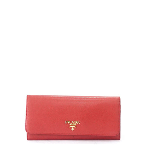 Prada Red Bifold Long Wallet