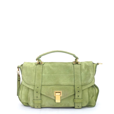 Proenza Schouler Green Suede PS1 Satchel
