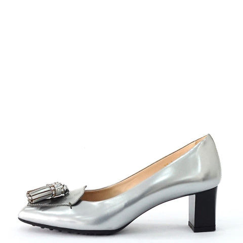 Tods Silver Tassel Loafers 37A