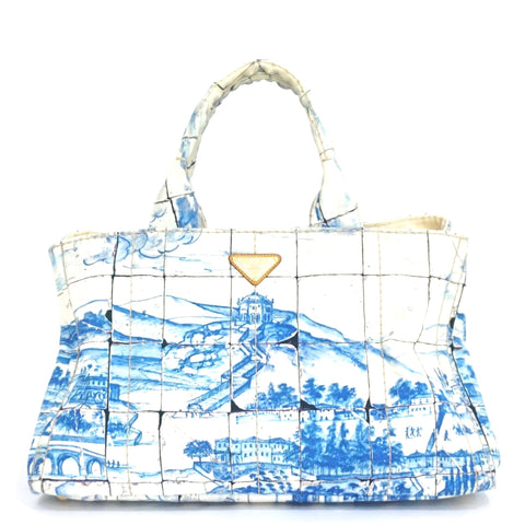 Prada Printed Canapa Shopping Bag