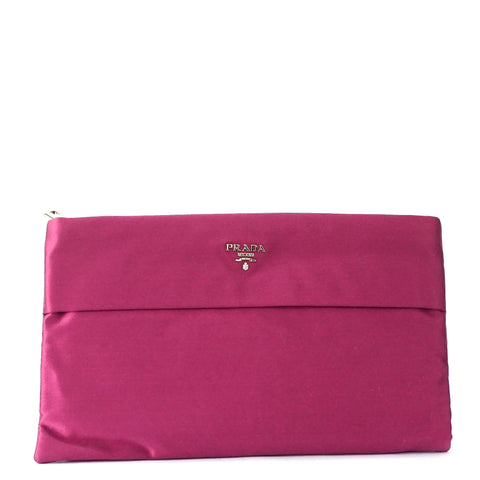 Prada Fuschia Zipper Envelope Satin Clutch