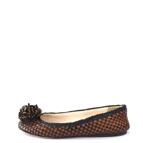 Prada Black Brown Woven Flats 36