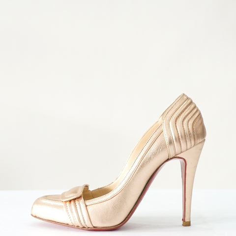 Christian Louboutin Rose Gold Pumps 35.5