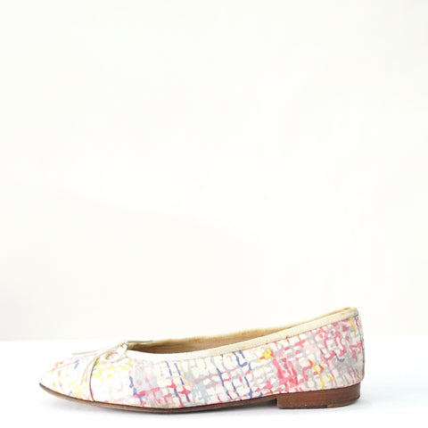 Chanel Multicolor Printed Canvas Ballerina Flats 37.5