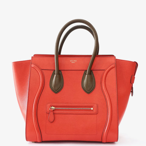 Celine Large Bicolor Red-Brown Luggage