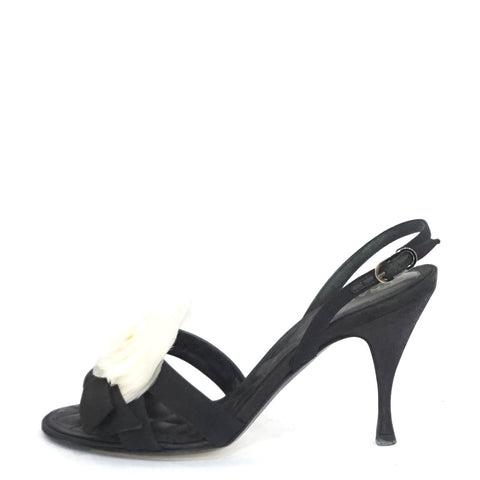 Chanel Camellia Black Satin Heeled Sandals 35.5