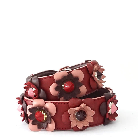 Fendi Floral Strap Red Ruby Pink SHW