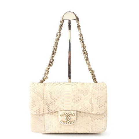 Chanel Python Beige Champagne Python with Pearl Hardware