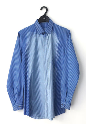 Prada Men Blue Striped Long-Sleeved Shirt 39
