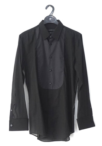Gucci Men Black Sheer Skinny Fit Long-Sleeved Shirt 15.5