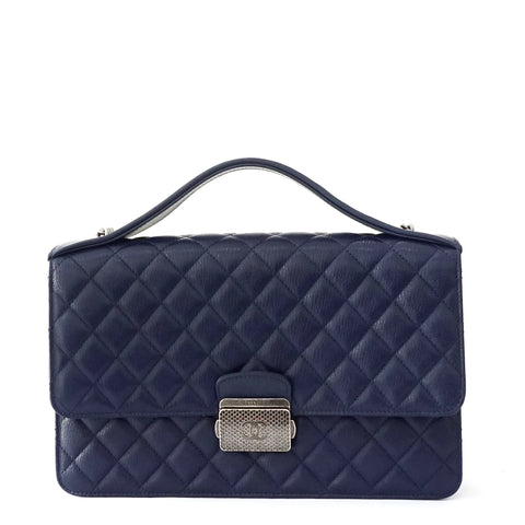 Chanel Blue Navy Caviar Top Handle Flapbag Ruthenium Hardware