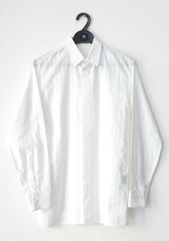 Dior Men White Striped Long-Sleeved Shirt 38