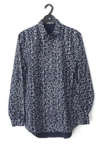Dior Men Printed Navy Long-Sleeved Shirt 39