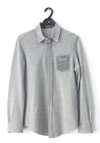 Louis Vuitton Men Wool Gray Long-Sleeved Shirt S