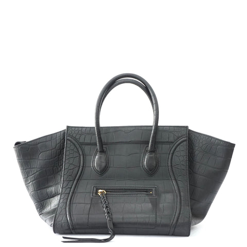 Celine Phantom Black Croco Embossed