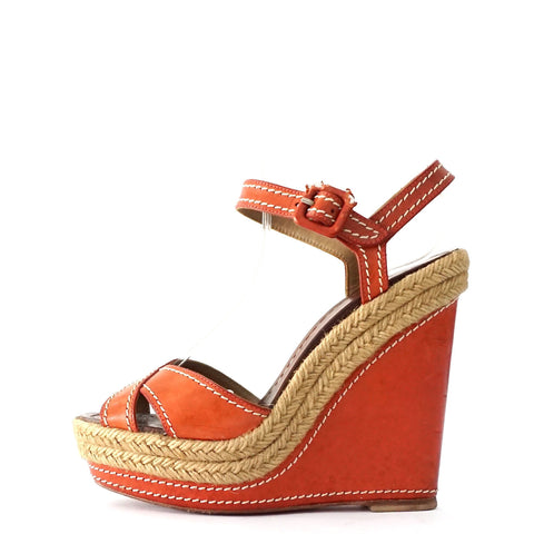 Christian Louboutin Coral Wedges Sandals 35