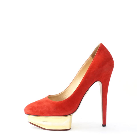 Charlotte Olympia Dolly Red Suede 37