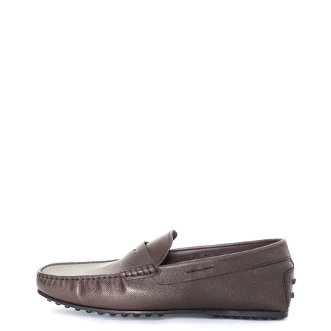 Tods Brown Saffiano Leather Loafers 8