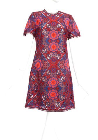 Sandro Embroidery Red and Blue Dress 3