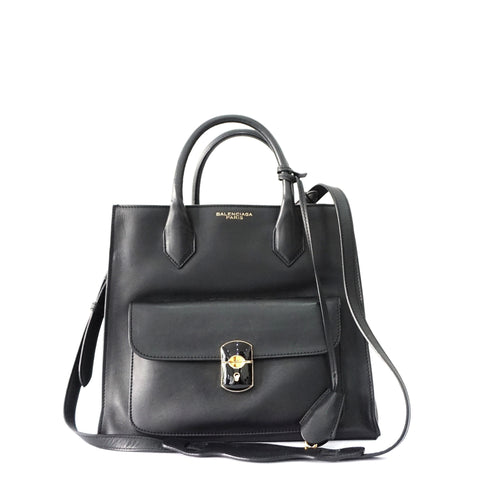 Balenciaga Black Calf Padlock All Afternoon Bag