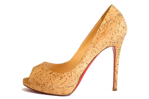 Christian Louboutin Cork Peep Toe Very Prive Pumps 37.5
