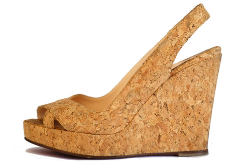Christian Louboutin All Cork Sling back Wedges 37.5